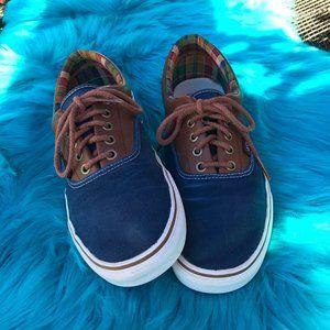 Vans Era Navy Blue Brown Leather Canvas Mens Skate